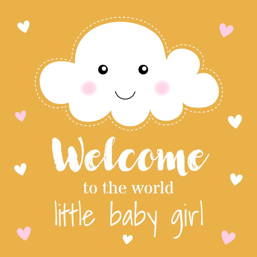 Felicitatiekaarten - Felicitatie geboorte meisje wolkje okergeel