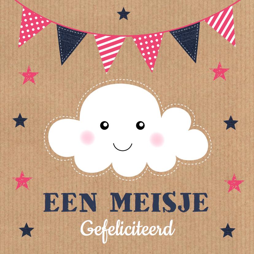 Felicitatiekaarten - Felicitatie geboorte meisje wolkje slinger