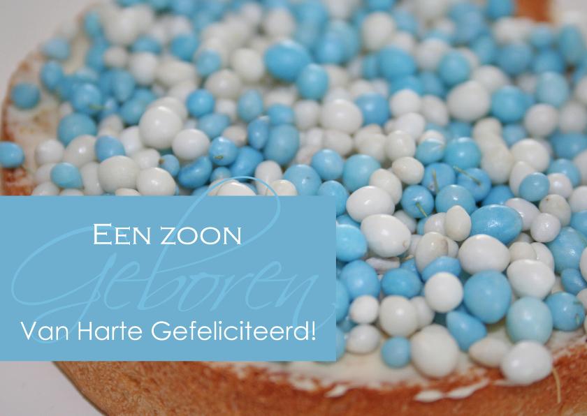 Felicitatiekaarten - Felicitatie geboorte met blauwe muisjes