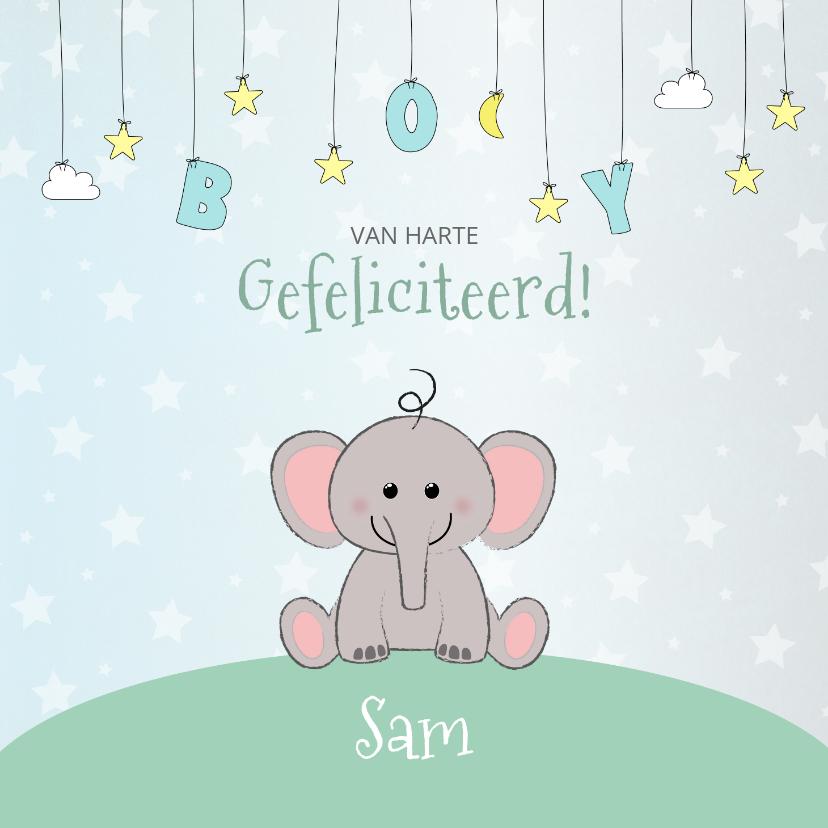 Felicitatiekaarten - Felicitatie geboorte met een schattig olifantje en sterren