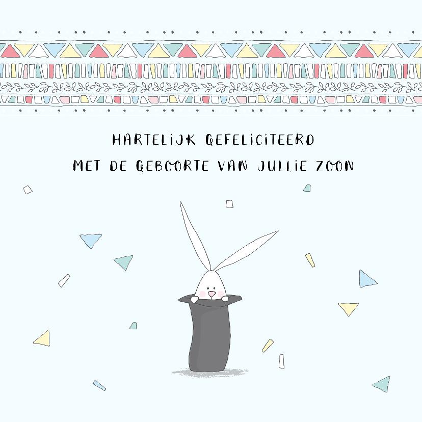 Felicitatiekaarten - Felicitatie geboorte met konijn in hoge hoed