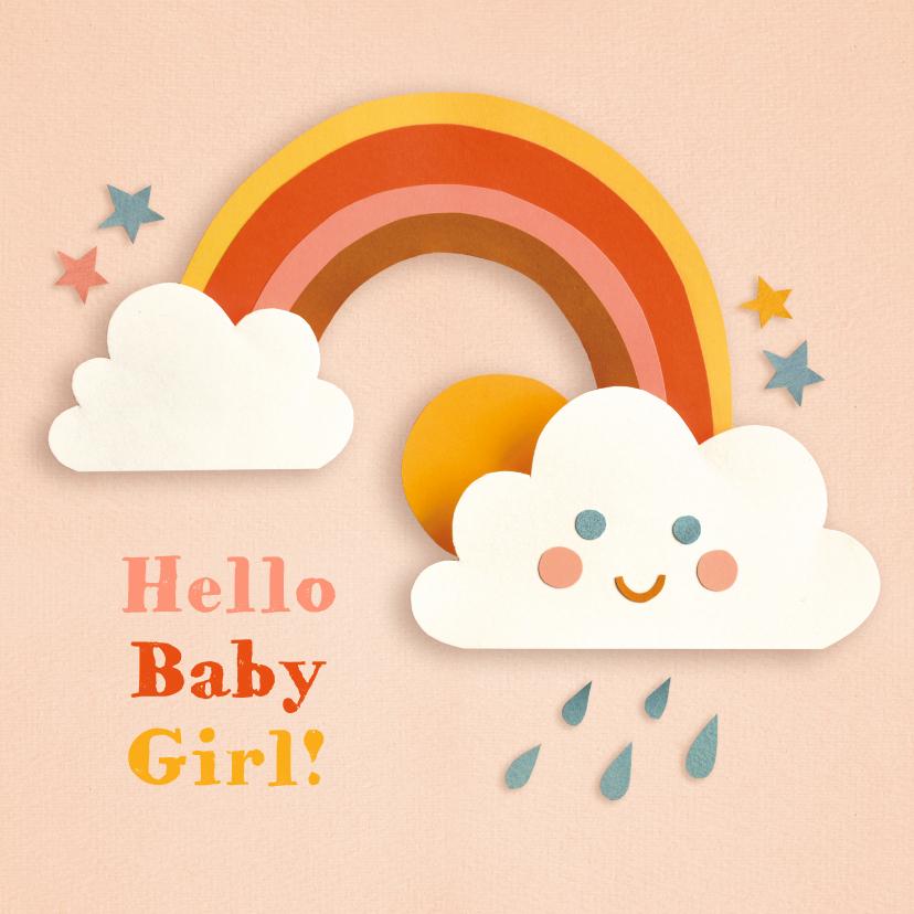 Felicitatiekaarten - Felicitatie geboorte met regenboog en wolkje roze