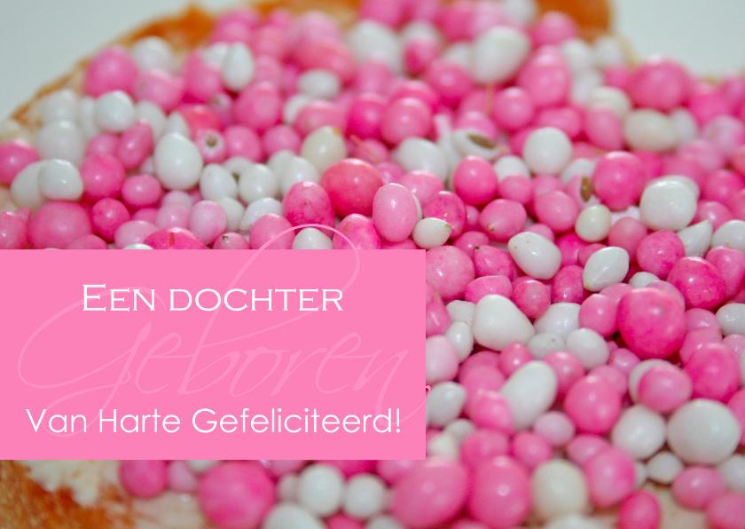 Felicitatiekaarten - Felicitatie geboorte met roze muisjes