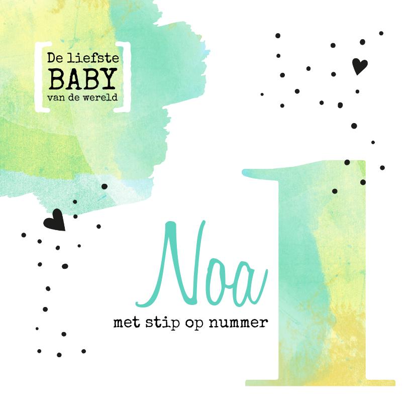 Felicitatiekaarten - Felicitatie geboorte met stip op nummer 1