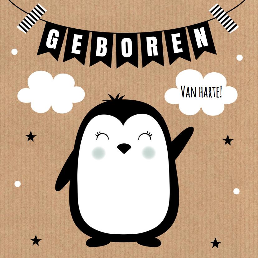 Felicitatiekaarten - Felicitatie geboorte pinguïn kraft