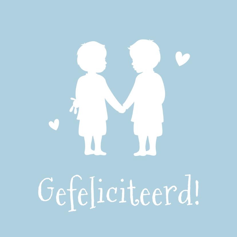 Felicitatiekaarten - Felicitatie geboorte tweeling - silhouet  van 2 jongens