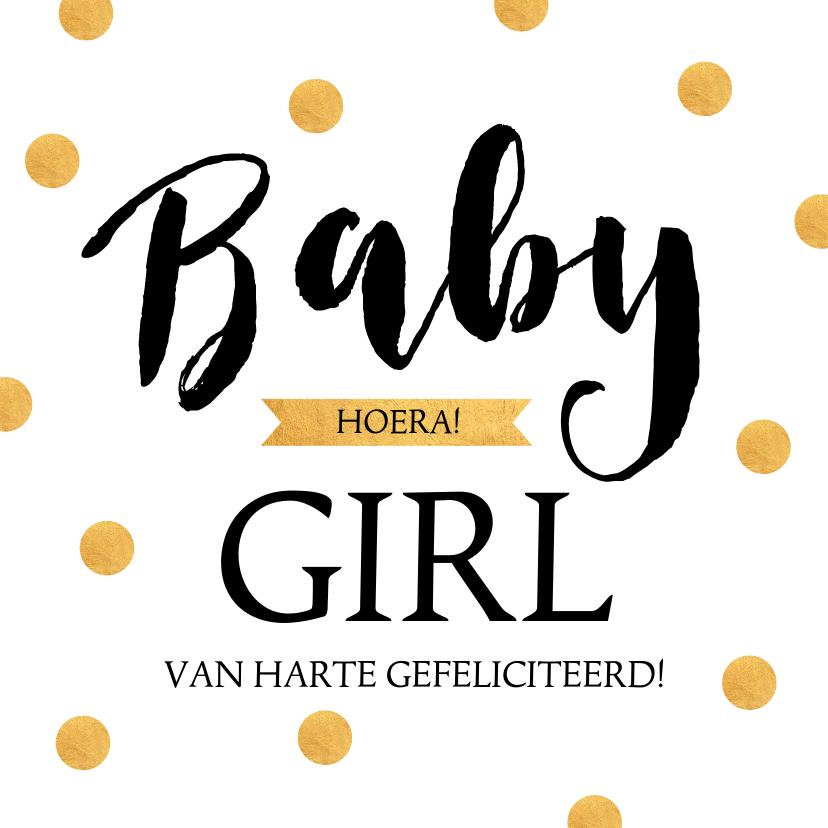 Felicitatiekaarten - Felicitatie geboorte typografie gouden stippen