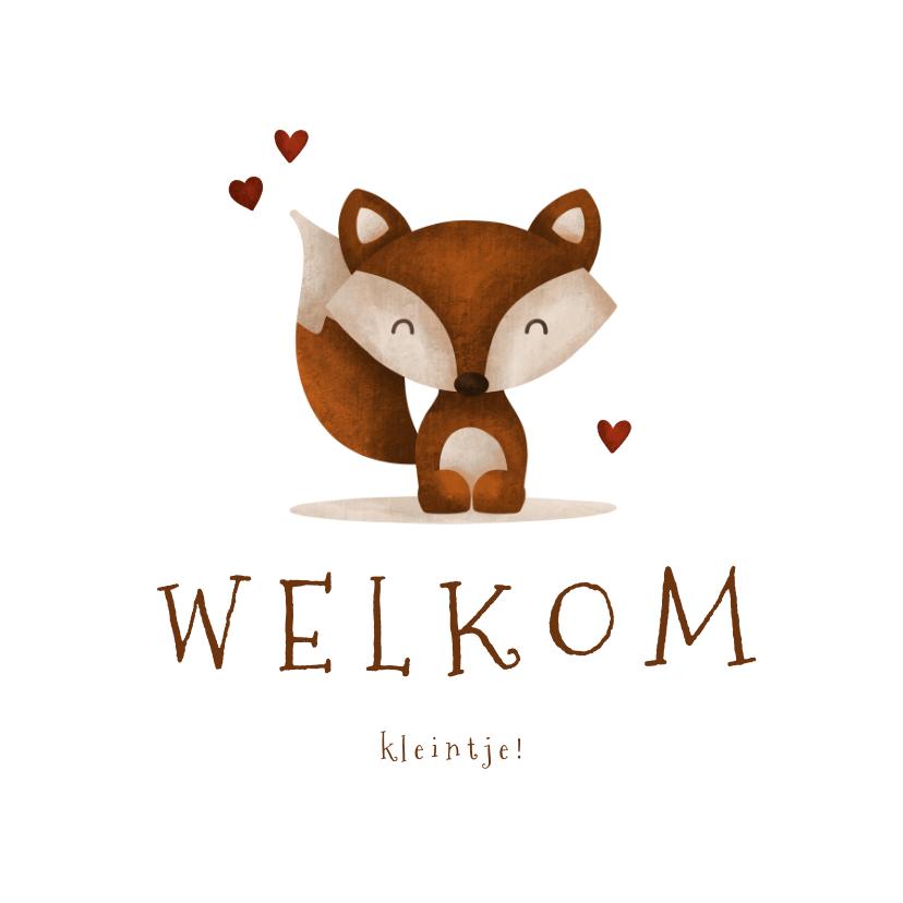 Felicitatiekaarten - Felicitatie geboorte vos met hartjes lief