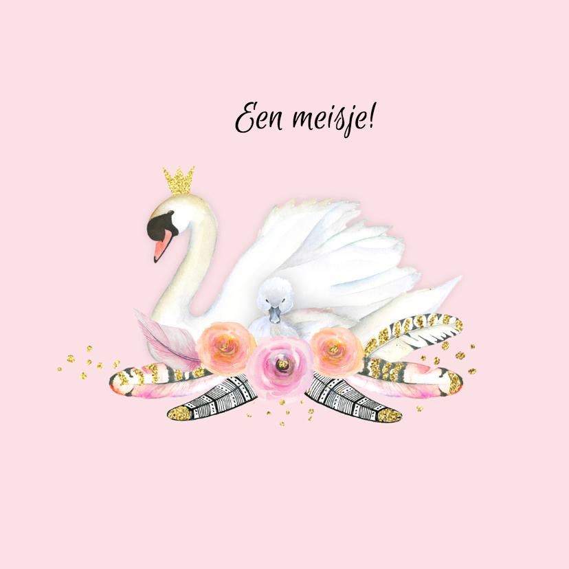 Felicitatiekaarten - Felicitatie geboorte zwaan veren