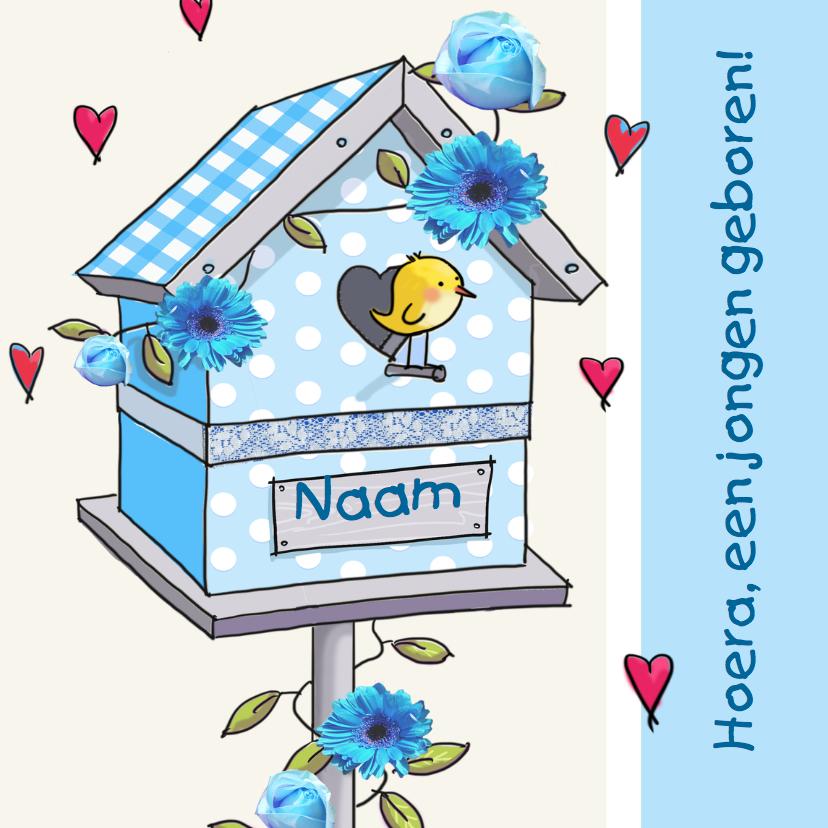 Felicitatiekaarten - Felicitatie geboortehuisje vogel blauw