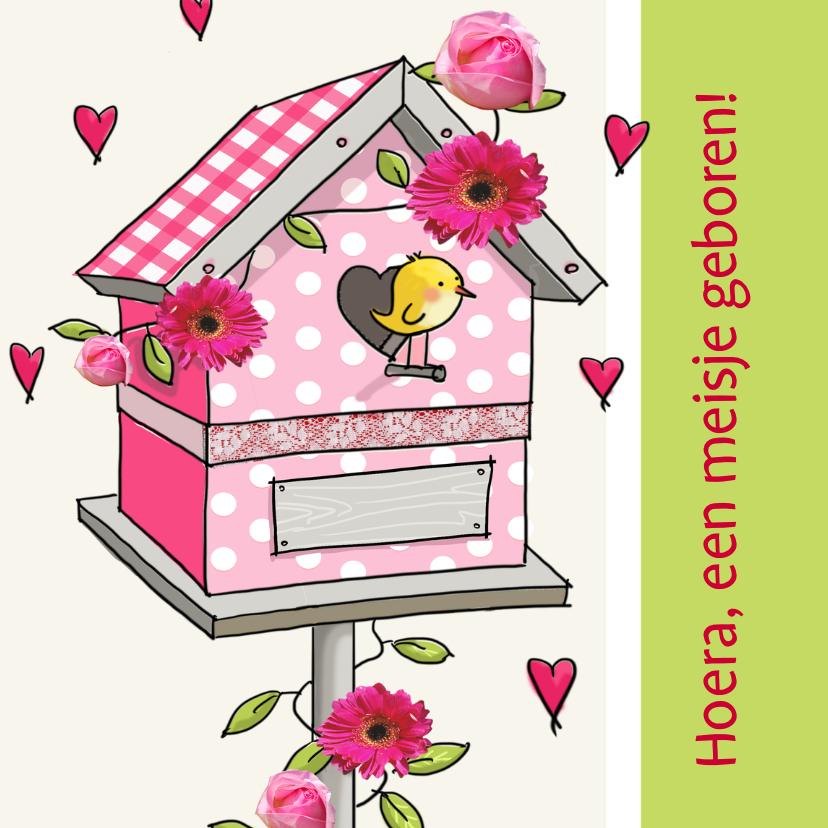 Felicitatiekaarten - Felicitatie geboortehuisje vogel roze