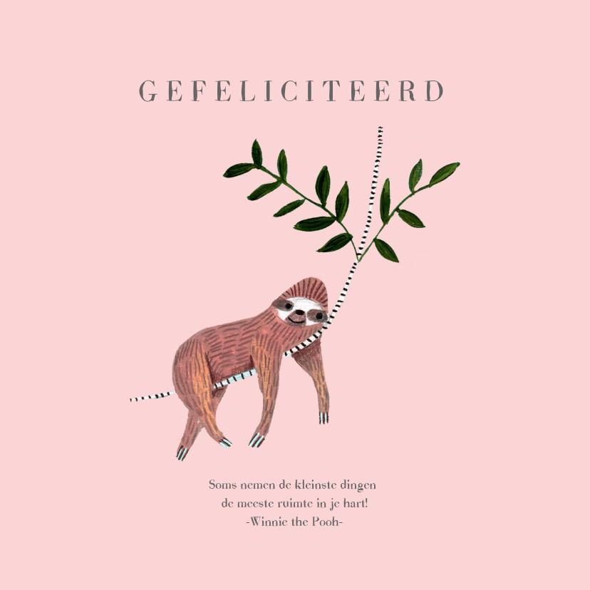 Felicitatiekaarten - Felicitatie geboren meisje dieren jungle luiaard.