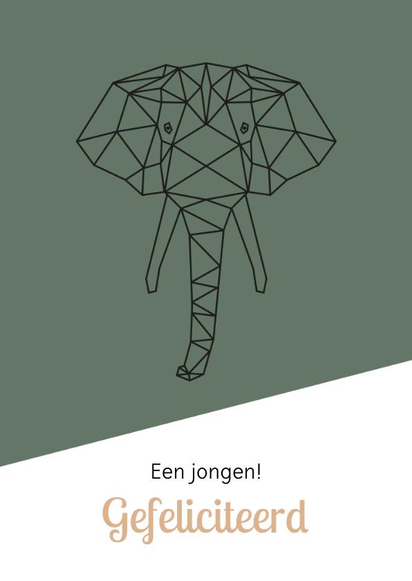 Felicitatiekaarten - Felicitatie - Geometrische olifant