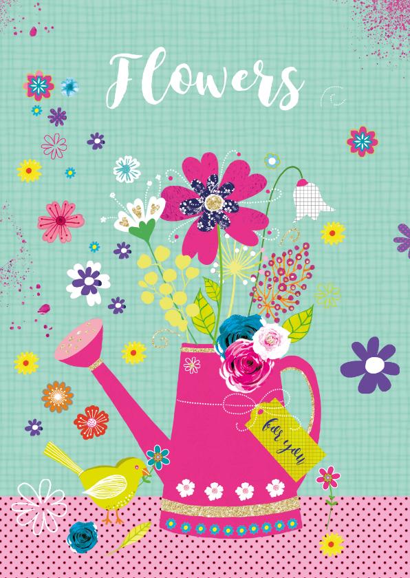 Felicitatiekaarten - Felicitatie gieter bloemen