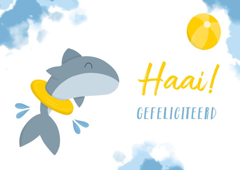 Felicitatiekaarten - Felicitatie haai met band en bal