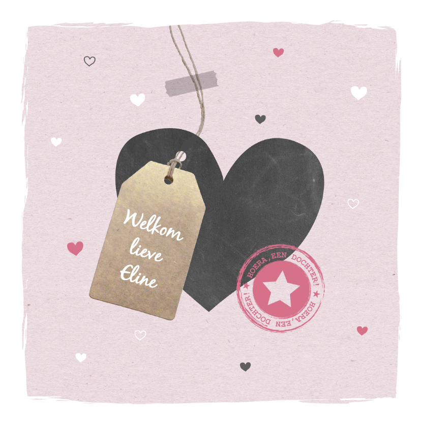 Felicitatiekaarten - Felicitatie - Hart, label meisje