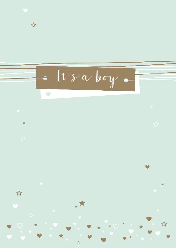 Felicitatiekaarten - Felicitatie - Hartjes, sterren, lijnen, boy