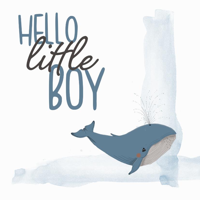 Felicitatiekaarten - Felicitatie - hello little boy walvis geboorte