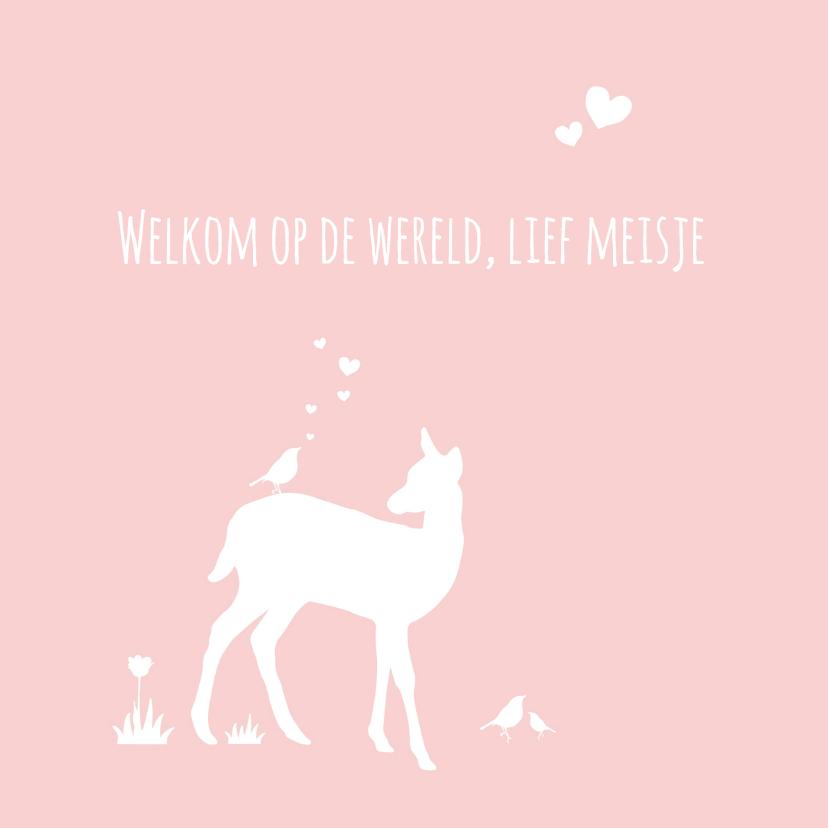 Felicitatiekaarten - Felicitatie - Hert, meisje, roze