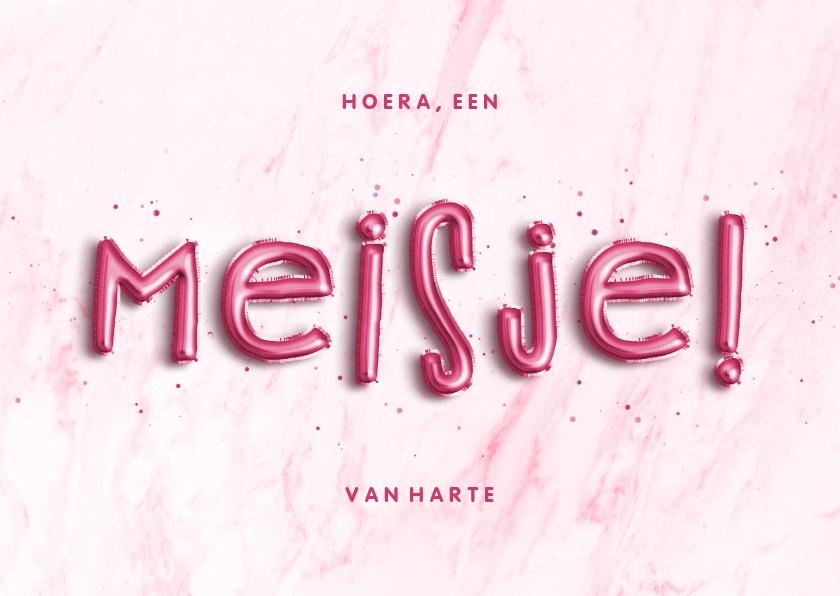 Felicitatiekaarten - Felicitatie 'Hoera, een meisje!' folieballon roze