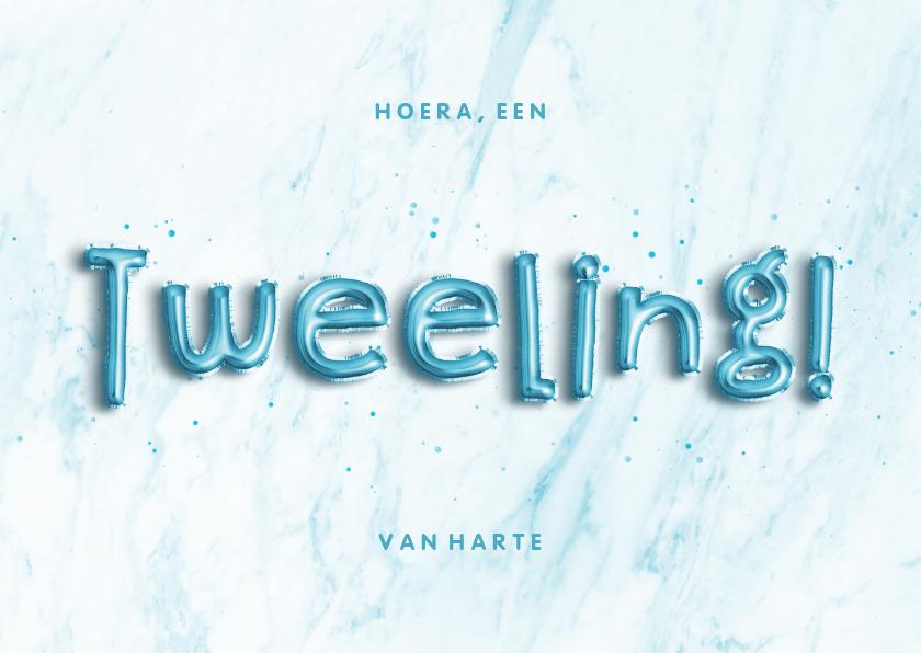 Felicitatiekaarten - Felicitatie 'Hoera, een tweeling!' folieballon blauw