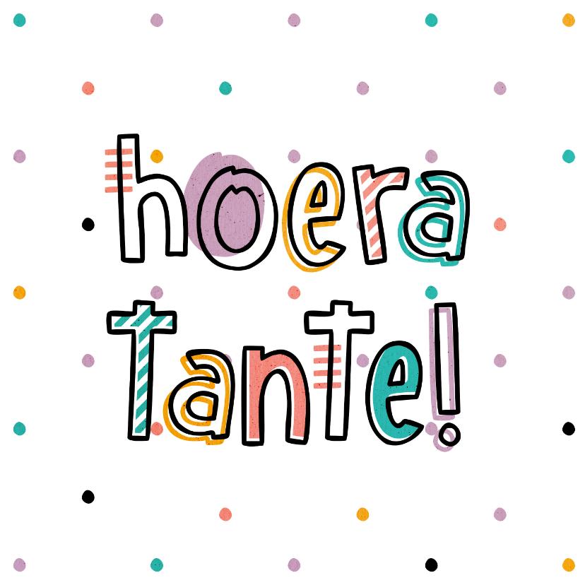 Felicitatiekaarten - Felicitatie hoera tante hip met confetti