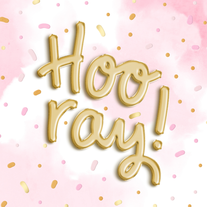 Felicitatiekaarten - Felicitatie 'Hooray!' ballonnen met waterverf