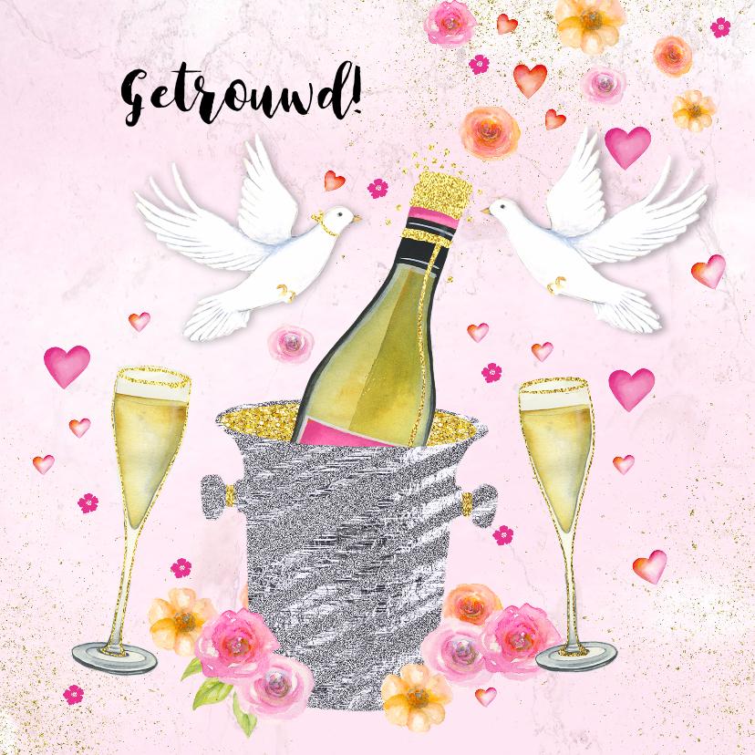 Felicitatiekaarten - Felicitatie huwelijk champagne