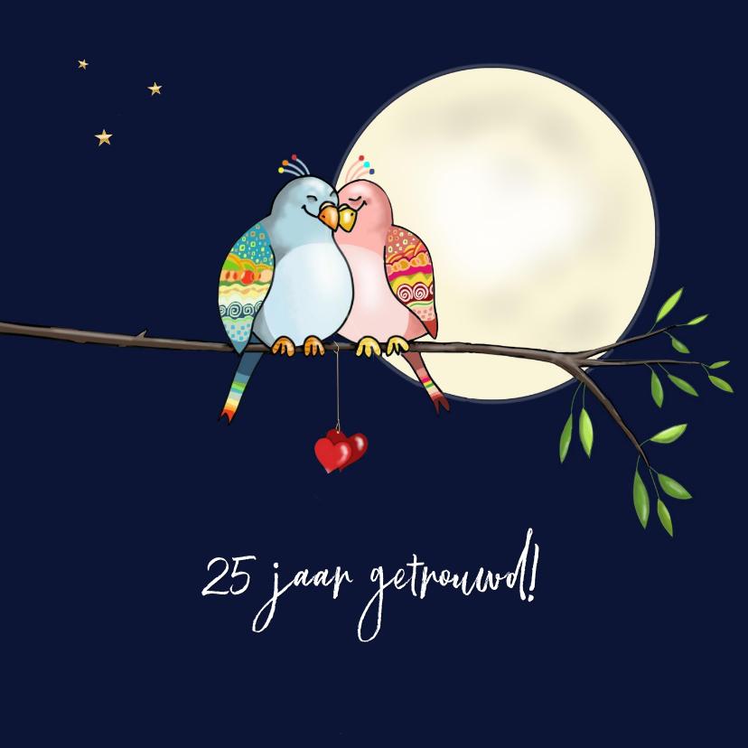 Felicitatiekaarten - Felicitatie huwelijk - kleurige tortelduiven