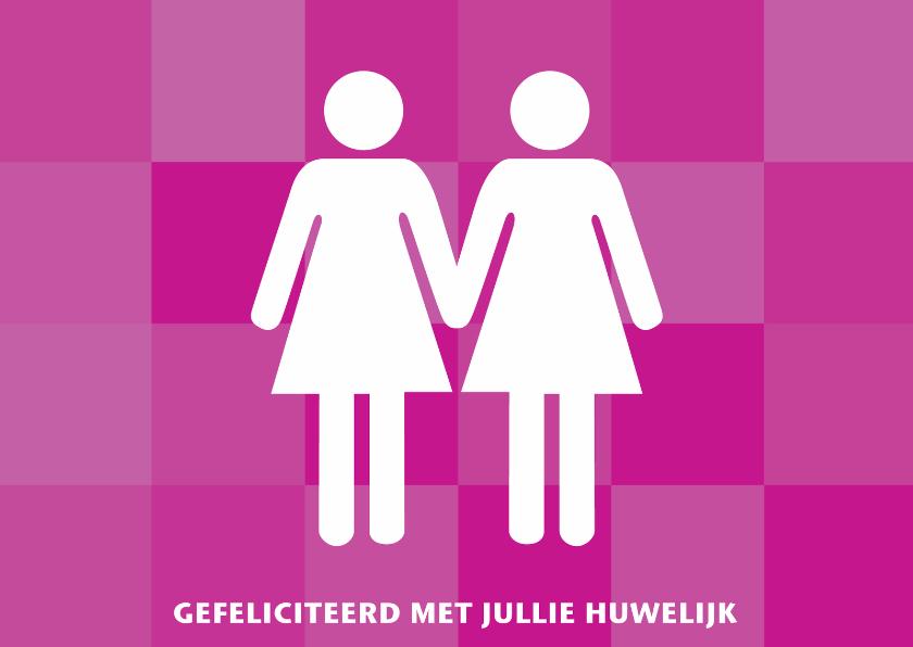 Felicitatiekaarten - Felicitatie huwelijk lesbisch bruidspaar