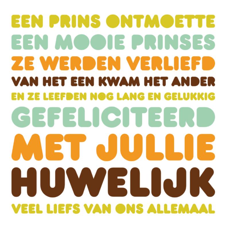Felicitatiekaarten - Felicitatie Huwelijk Letters Prins(es)