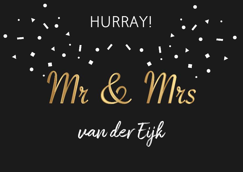 Felicitatiekaarten - Felicitatie huwelijk mr & mrs goud