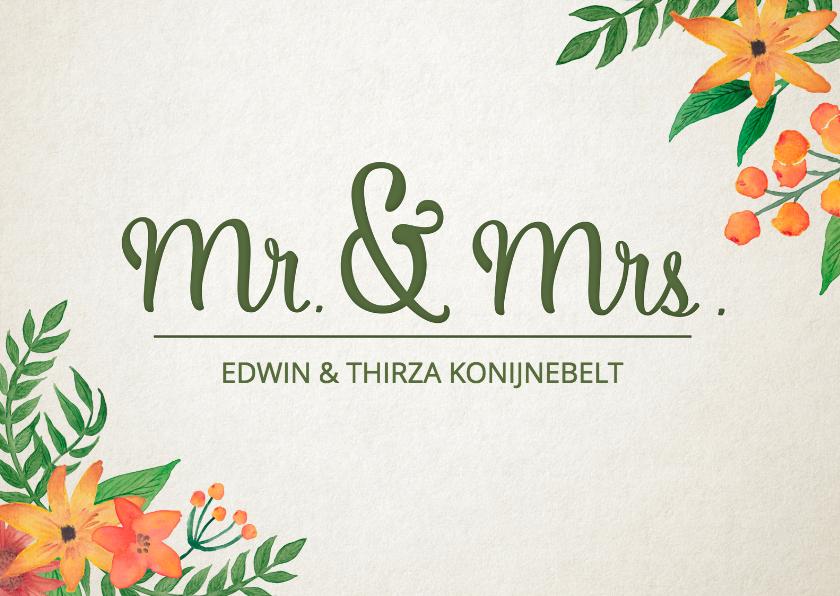 Felicitatie huwelijk mr mrs felicitatiekaarten