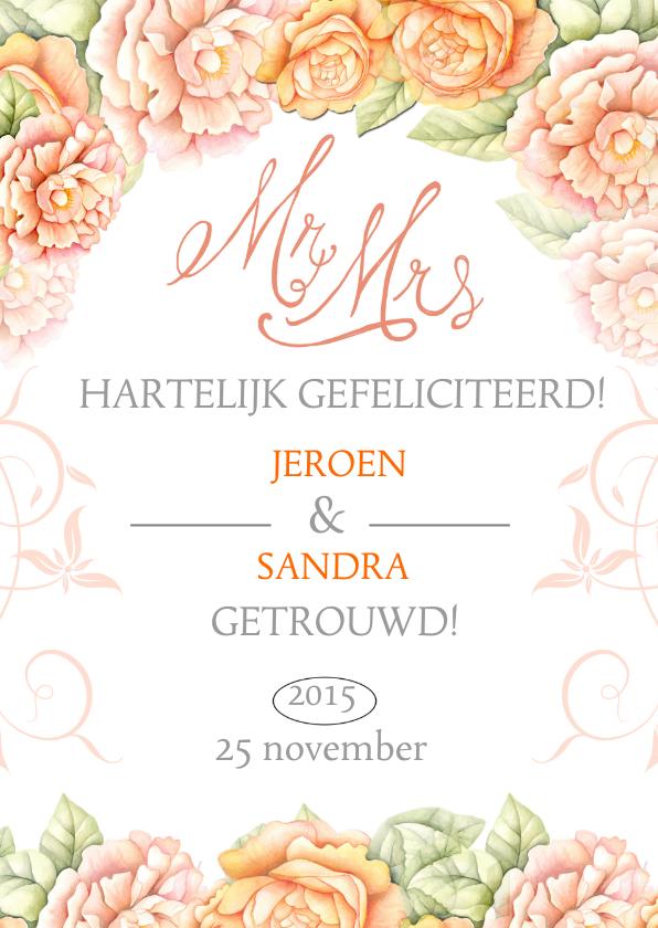 Felicitatie huwelijk rozen felicitatiekaarten kaartje go
