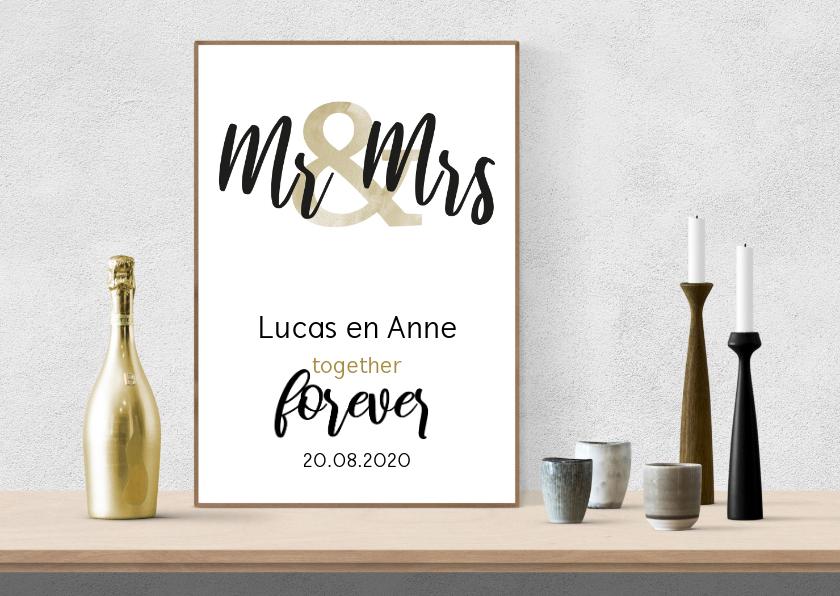 Felicitatiekaarten - Felicitatie huwelijk tekst op interieurposter