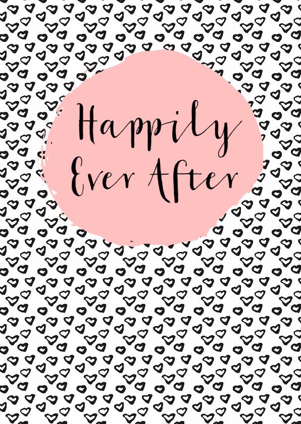 Felicitatiekaarten - Felicitatie Huwelijk zwartwit hartjes - WW