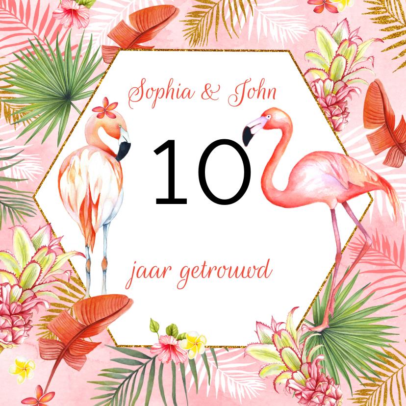 Felicitatiekaarten - Felicitatie huwelijksjubileum flamingostel
