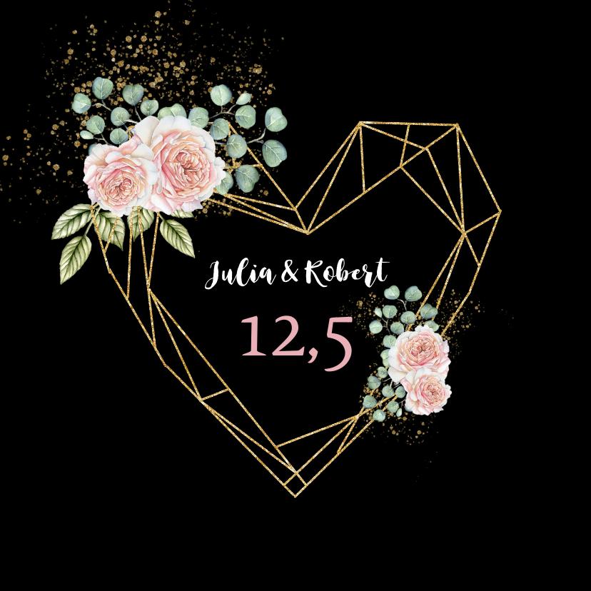 Felicitatiekaarten - Felicitatie huwelijksjubileum rozen hart