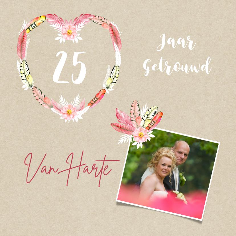 Felicitatiekaarten - Felicitatie huwelijksjubileum veren
