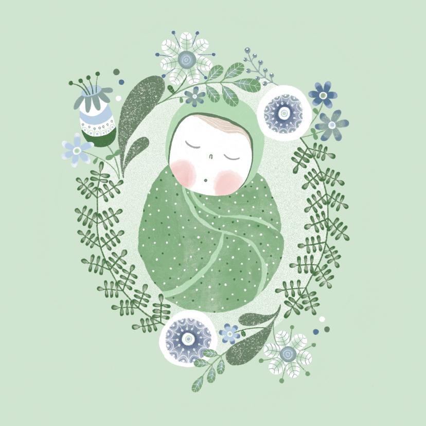Felicitatiekaarten - Felicitatie jongen baby groen