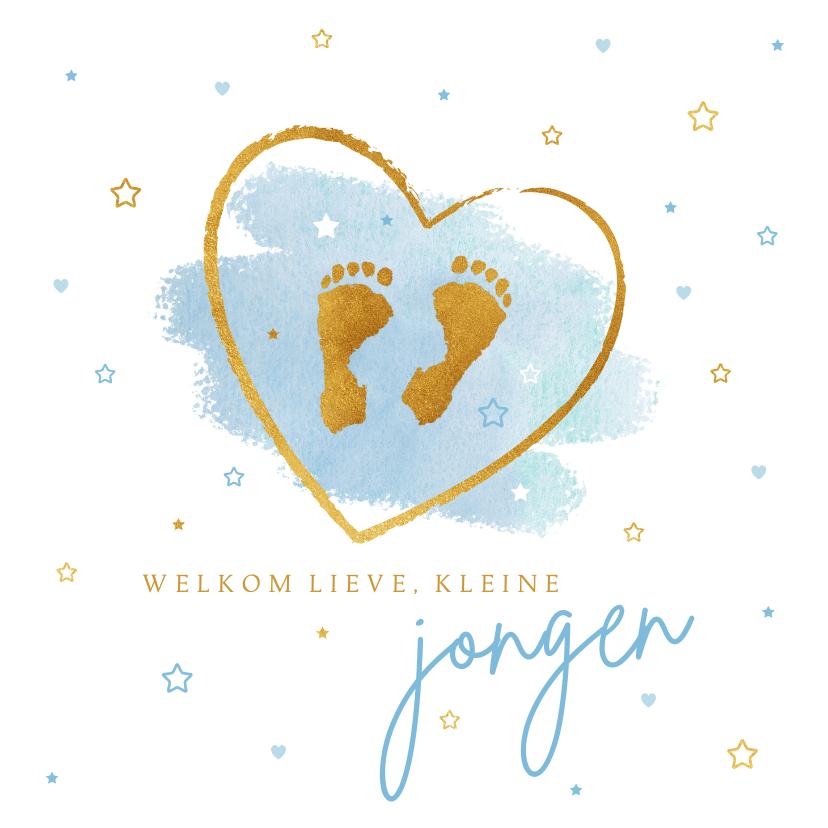 Felicitatiekaarten - Felicitatie jongen baby voetjes blauw