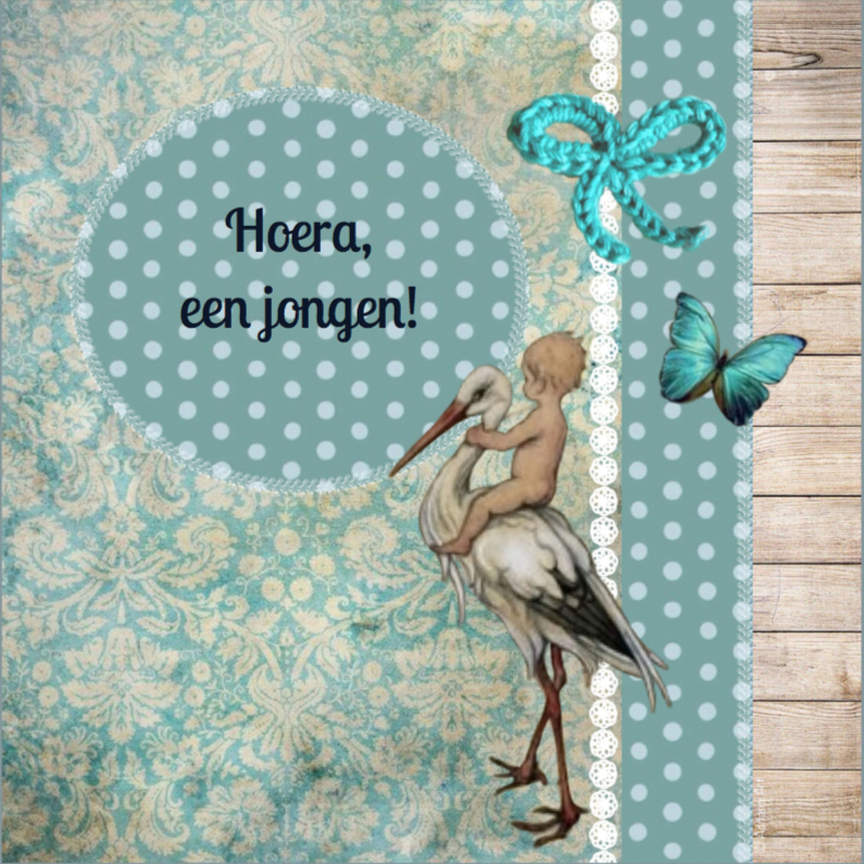 Felicitatiekaarten - Felicitatie jongen ooievaar blue
