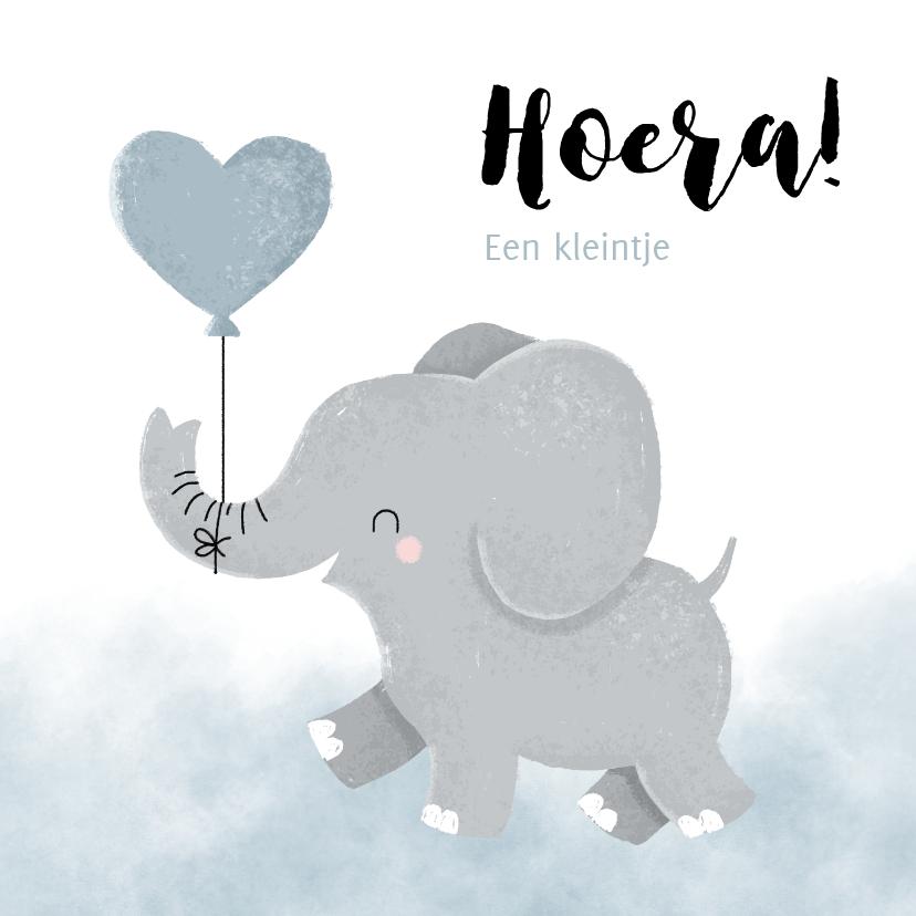 Felicitatiekaarten - Felicitatie jongetje geboren met olifantje en waterverf