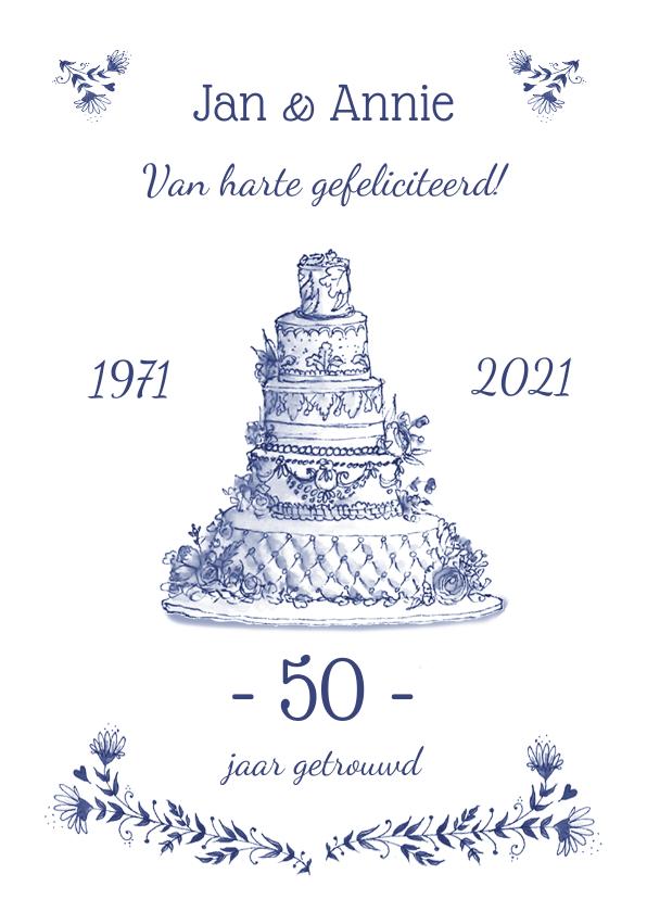 Felicitatiekaarten - felicitatie Jubileum bruidstaart en bloemen