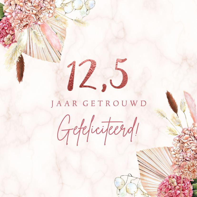 Felicitatiekaarten - Felicitatie jubileum hortensia droogbloemen