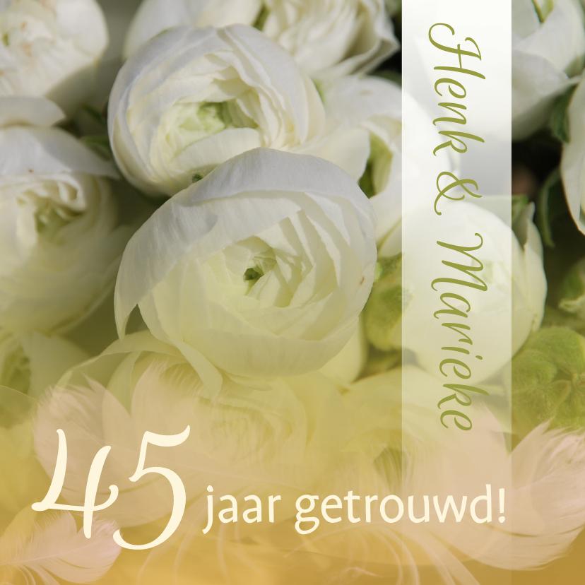 Felicitatiekaarten - Felicitatie Jubileum ranonkel wit groen