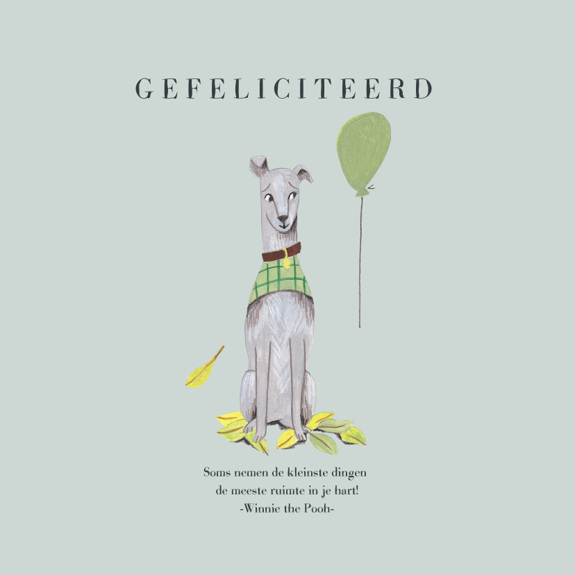 Felicitatiekaarten - Felicitatie kaart hond met ballon blauw