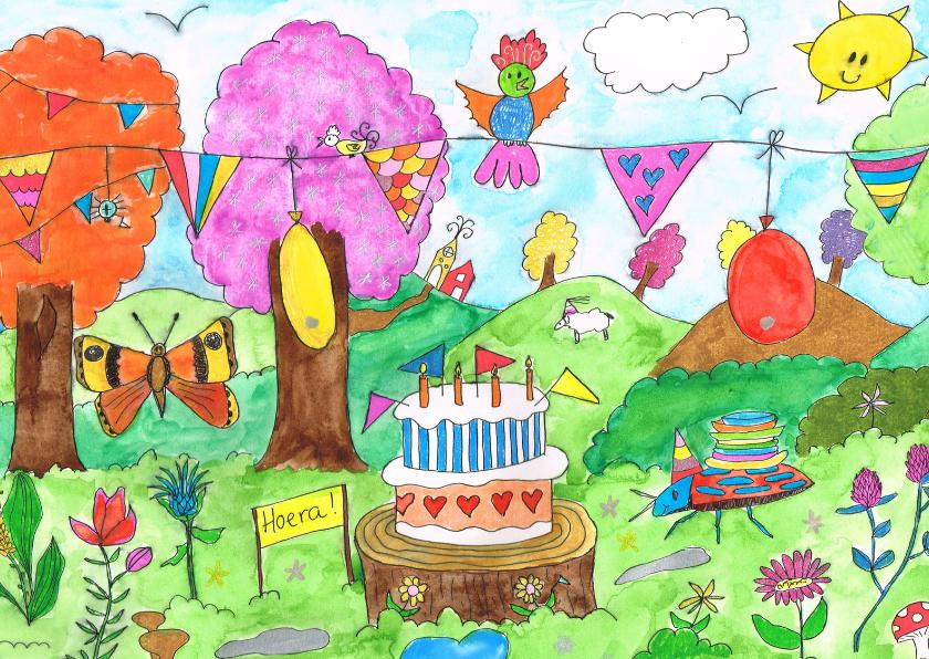 Felicitatiekaarten - Felicitatie: Kaart met taart