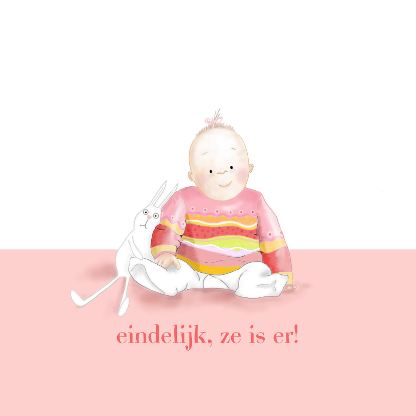 Felicitatiekaarten - Felicitatie - klein meisje met konijntje