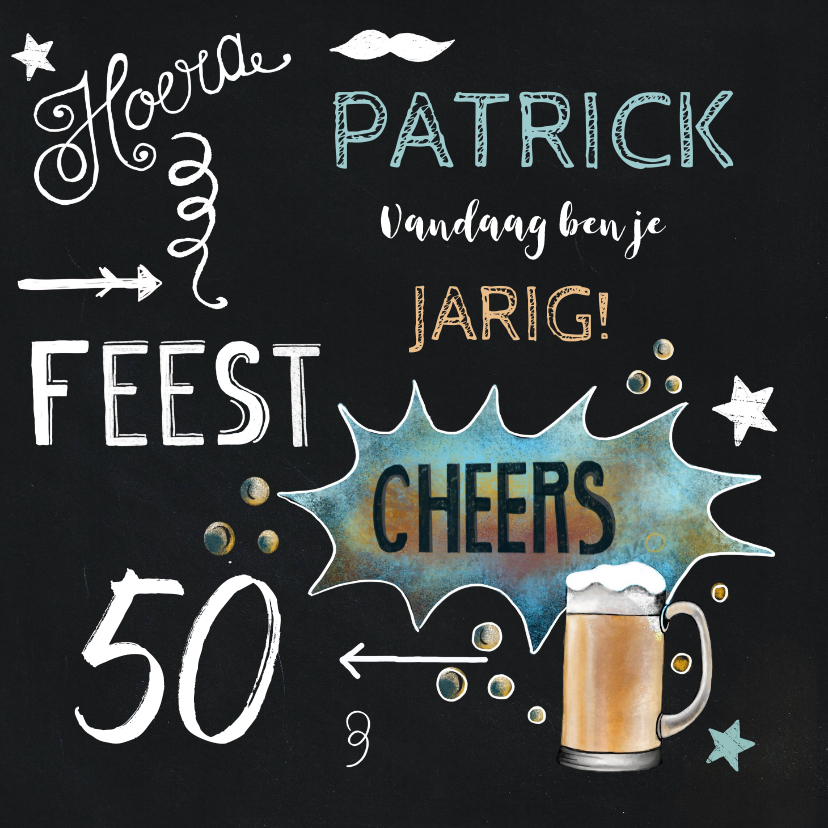 Felicitatiekaarten - Felicitatie krijtbord bier